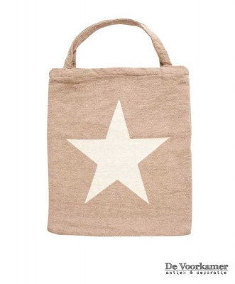 shopper,tas,bag,juleez,booschappentas,tasje,natuurtinten,ster,star,beige,jute